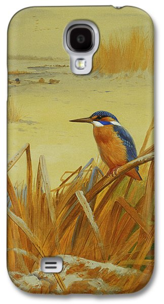 A Kingfisher Amongst Reeds In Winter Galaxy S4 Case by Archibald Thorburn