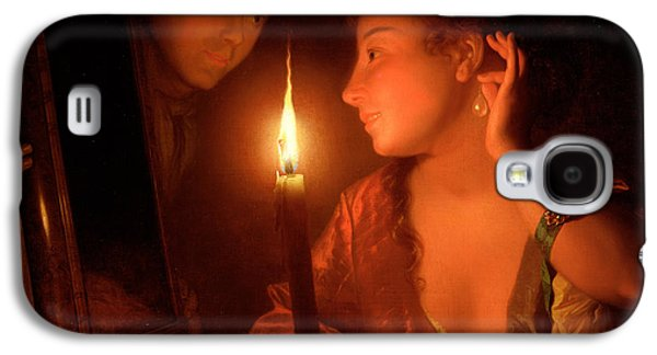 A Lady Admiring An Earring By Candlelight Galaxy S4 Case by Godfried Schalcken