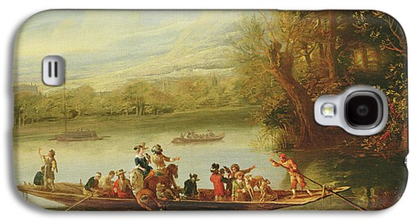 A Landscape With A Crowded Ferry Crossing The Water In The Foreground  Galaxy S4 Case by Willem Schellinks