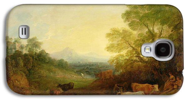 A Landscape With Cattle And Figures By A Stream And A Distant Bridge Galaxy S4 Case by Thomas Gainsborough