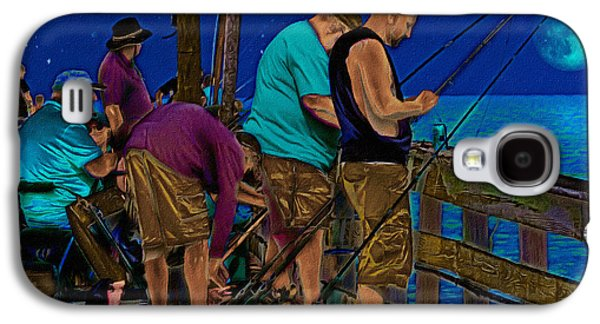 Pole Drawings Galaxy S4 Cases - A Little Night Fishing at the Rodanthe Pier 2 Galaxy S4 Case by Anne Kitzman