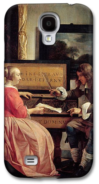 A Man And A Woman Seated By A Virginal Galaxy S4 Case by Gabriel Metsu