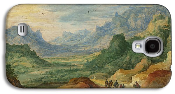 A Mountainous Landscape With Travellers And Herdsmen On A Path Galaxy S4 Case by Jan Brueghel and Joos de Momper