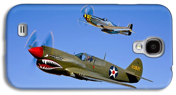A P-40e Warhawk And A P-51d Mustang Galaxy S4 Case by Scott Germain