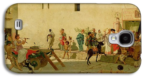 A Roman Street Scene With Musicians And A Performing Monkey Galaxy S4 Case by Modesto Faustini