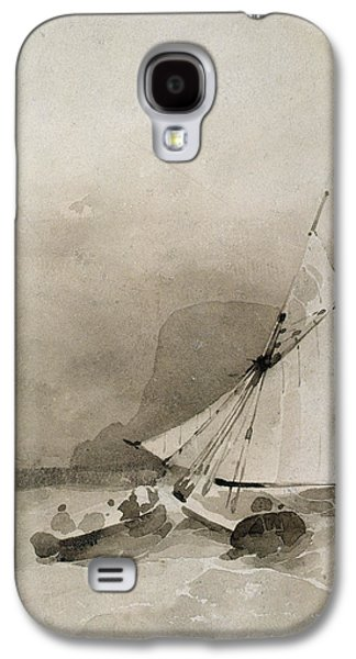 A Sailing Vessel And A Rowing Boat In Rough Seas Galaxy S4 Case by Richard Parkes Bonington