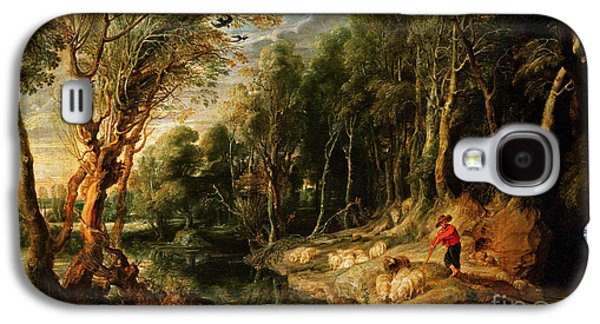 A Shepherd With His Flock In A Woody Landscape Galaxy S4 Case
