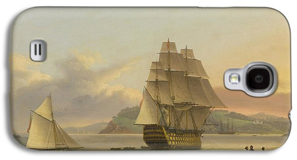 A Ship Of The Line Off Plymouth, 1817 Galaxy S4 Case by Thomas Luny