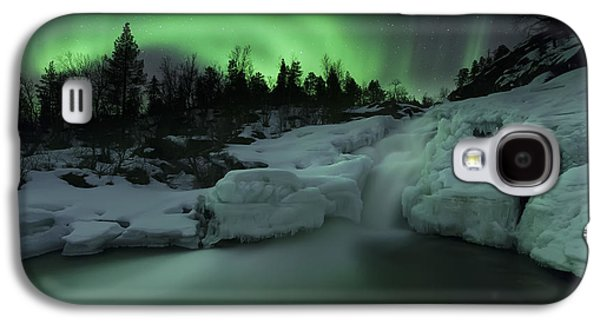 A Wintery Waterfall And Aurora Borealis Galaxy S4 Case by Arild Heitmann