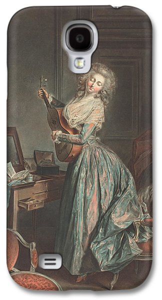 A Woman Playing The Guitar Galaxy S4 Case by Jean-Francois Janinet