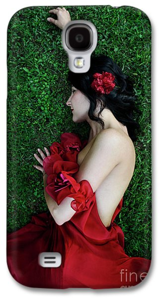 A Woman Sleeping On The Grass In A Red Dress Galaxy S4 Case by Jelena Jovanovic