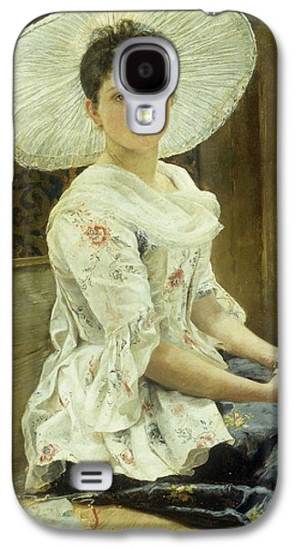 A Young Beauty In A White Hat  Galaxy S4 Case by Franz Xaver Simm
