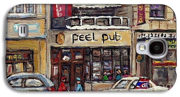 Rue Peel Montreal En Hiver Parie De Hockey De Rue Peel Pub Galaxy S4 Case