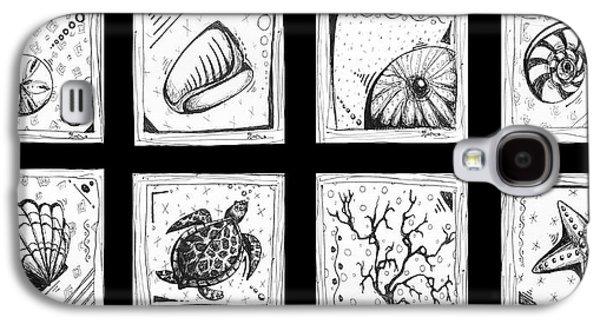Abstract Art Contemporary Coastal Sea Shell Sketch Collection By Madart Galaxy S4 Case
