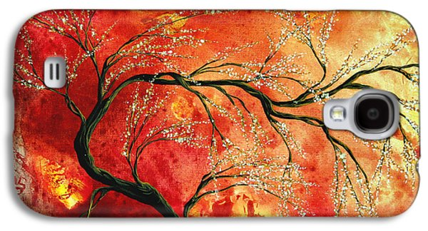 Design Paintings Galaxy S4 Cases - Abstract Art Floral Tree Landscape Painting FRESH BLOSSOMS by MADART Galaxy S4 Case by Megan Duncanson