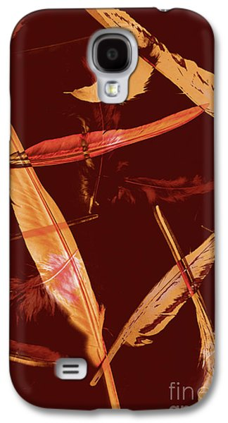 Abstract Feathers Falling On Brown Background Galaxy S4 Case by Jorgo Photography - Wall Art Gallery