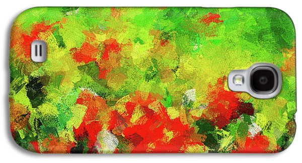Abstract Floral Painting - Red And Green Galaxy S4 Case by Ayse Deniz
