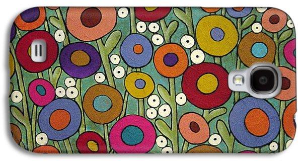 Folk Art Mixed Media Galaxy S4 Cases - Abstract Garden Galaxy S4 Case by Karla Gerard