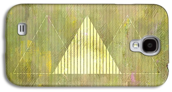 Abstract Green And Gold Triangles Galaxy S4 Case by Brandi Fitzgerald