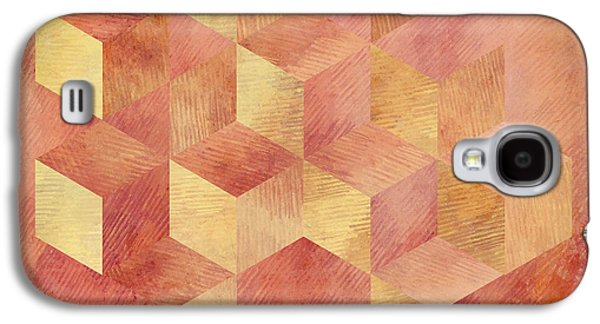 Abstract Red And Gold Geometric Cubes Galaxy S4 Case