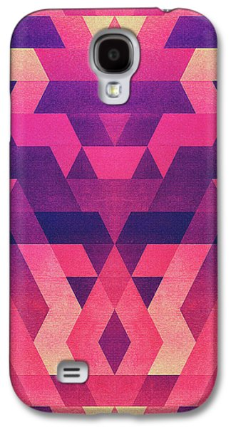 Abstract Symertric Geometric Triangle Texture Pattern Design In Diabolic Magnet Future Red Galaxy S4 Case by Philipp Rietz