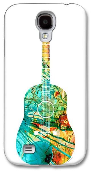 Acoustic Guitar 2 - Colorful Abstract Musical Instrument Galaxy S4 Case by Sharon Cummings