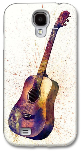 Acoustic Guitar Abstract Watercolor Galaxy S4 Case