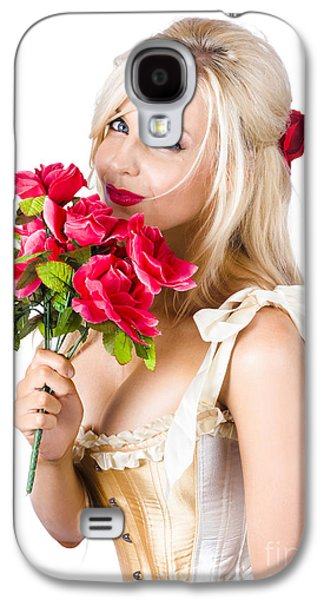 Adorable Florist Woman Smelling Red Flowers Galaxy S4 Case by Jorgo Photography - Wall Art Gallery