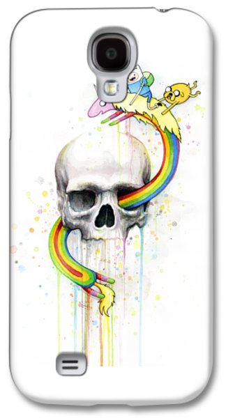 Adventure Time Skull Jake Finn Lady Rainicorn Watercolor Galaxy S4 Case