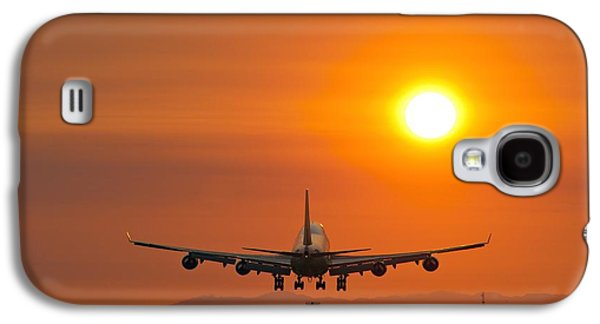 Aeroplane Landing At Sunset Galaxy S4 Case