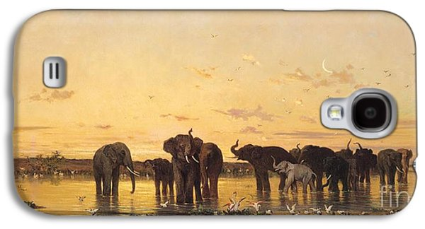African Elephants Galaxy S4 Case by Charles Emile de Tournemine