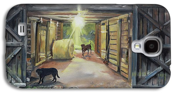After Hours In Pa's Barn - Barn Lights - Labs Galaxy S4 Case by Jan Dappen