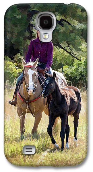 Afternoon Ride In The Sun - Cowgirl Riding Palomino Horse With Foal Galaxy S4 Case