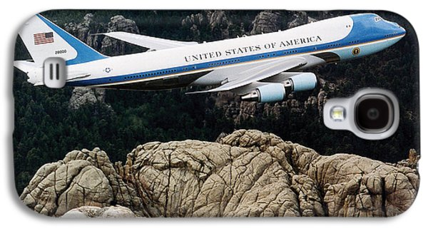 Air Force One Flying Over Mount Rushmore Galaxy S4 Case by War Is Hell Store