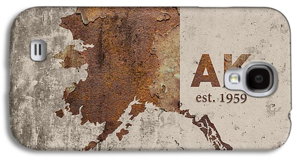Alaska State Map Industrial Rusted Metal On Cement Wall With Founding Date Series 018 Galaxy S4 Case by Design Turnpike