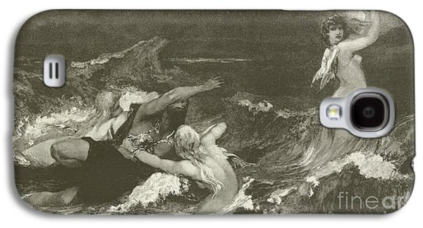 Angel Mermaids Ocean Galaxy S4 Case - Alberich's Pursuit Of The Nibelungen Ring by Hans Makart