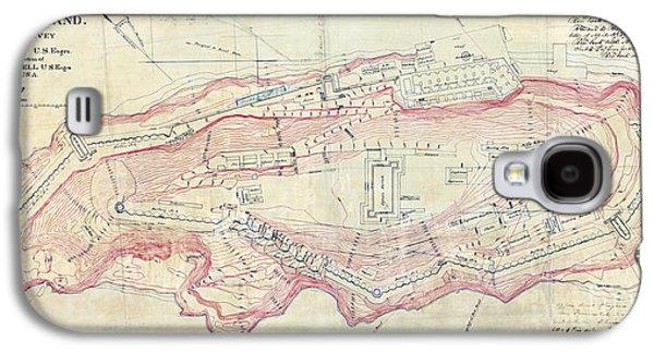 Alcatraz Island Map Circa 1867 Galaxy S4 Case by Jon Neidert