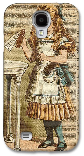 Fantasy Galaxy S4 Case - Alice In Wonderland Drink Me Vintage Dictionary Art Illustration by Anna W