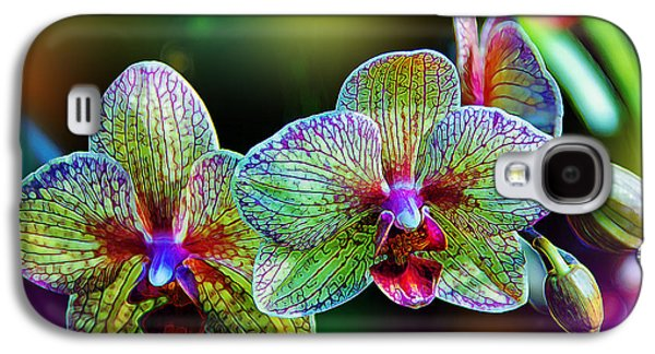 Orchid Galaxy S4 Case - Alien Orchids by Bill Tiepelman