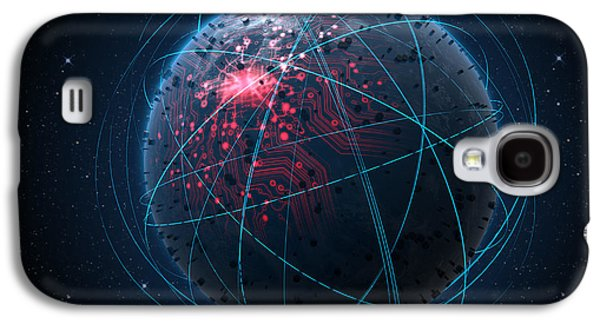 Alien Planet With Illuminated Network And Light Trails Galaxy S4 Case by Allan Swart