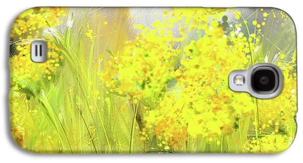 Alyssum Basket Of Gold - Yellow And Gray Abstract Galaxy S4 Case by Lourry Legarde