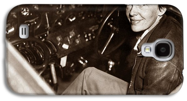 Amelia Earhart Sitting In Airplane Cockpit Galaxy S4 Case by War Is Hell Store