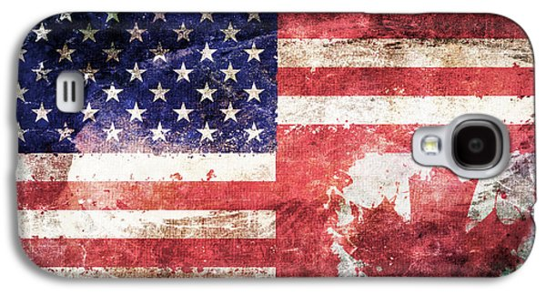American Canadian Tattered Flag Galaxy S4 Case by Az Jackson