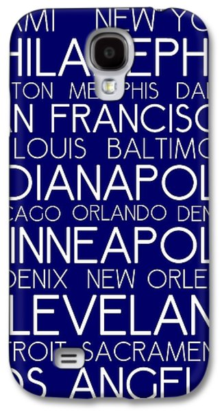 American Cities In Bus Roll Destination Map Style Poster - Blue Galaxy S4 Case by Celestial Images