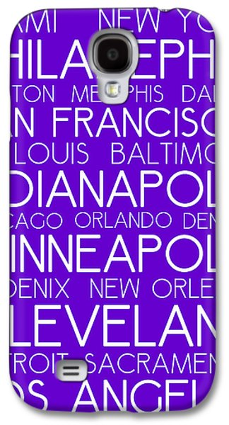 American Cities In Bus Roll Destination Map Style Poster - Purple Galaxy S4 Case by Celestial Images