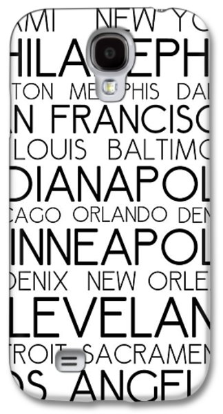 American Cities In Bus Roll Destination Map Style Poster - White Galaxy S4 Case by Celestial Images