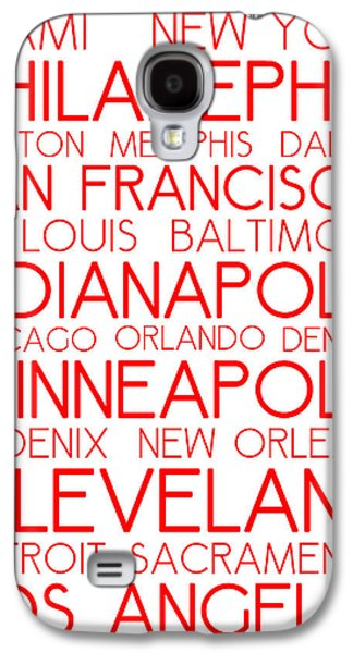 American Cities In Bus Roll Destination Map Style Poster - White-red Galaxy S4 Case by Celestial Images