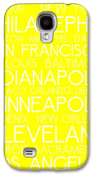 American Cities In Bus Roll Destination Map Style Poster - Yellow Galaxy S4 Case by Celestial Images