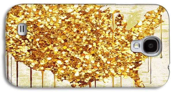 Glitter Gold American Map Galaxy S4 Case by Mindy Sommers