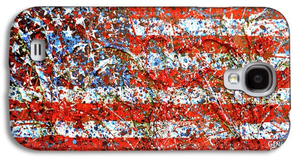 American Flag Abstract 2 With Trees  Galaxy S4 Case by Genevieve Esson